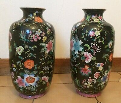 Pair of Vintage LARGE  CHINESE PORCELAIN VASES