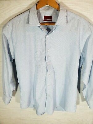 Alfani Mens Fitted Dress Shirt Blue Size 16-16 1/2 --32/33 Long Sleeve Easy Care