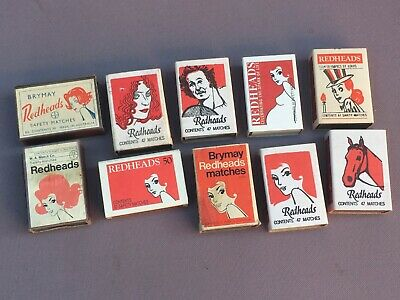10 x Assorted Vintage REDHEADS Matchbox, Matches, Various Years - Phillumeny...