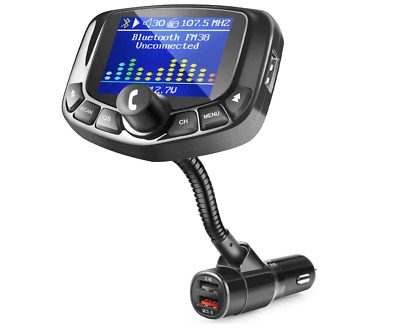 "ZEEPORTE Bluetooth FM Transmitter for Car, 1.8"" Color Screen Wireless Bluetooth"