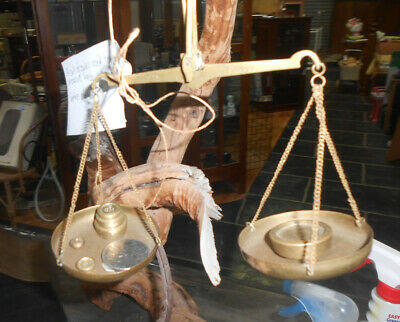 Brass apothecary scales and set of weights