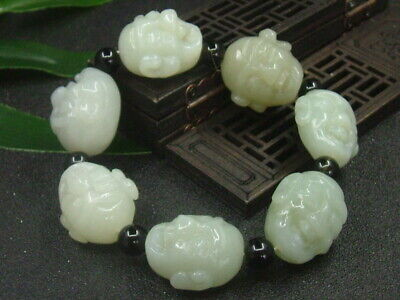 Antique Chinese Celadon Nephrite Hetian jade bangle 7-PIC LUOHAN  bracelet