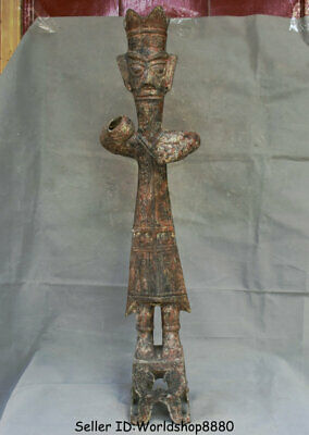 """30.4"""" Antiquity Old Chinese Bronze Ware Dynasty Stand Sanxingdui People Statue"""