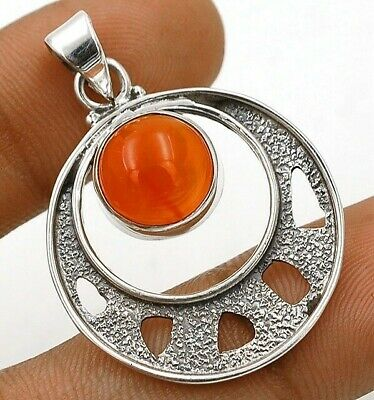 Natural Carnelian 925 Solid Sterling Silver Pendant Jewelry, EA17-5