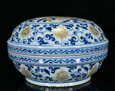 "9.6"" Xuande Marked China Blue White Porcelain Dynasty Flower Birds Jewelry box"