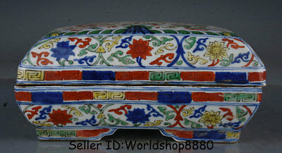 "8.4"" Jiajing Marked Old China Wucai Porcelain Dynasty Dragon Storage Box Boxes"