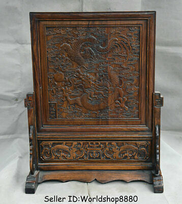 """24"""" Antique Old China Huanghuali Wood Dynasty Dragon Bead Folding Screen Statue"""