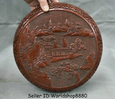 """9.8""""Qianlong Marked Old China Qing Red Lacquerware Dynasty landscape Jewelry box"""