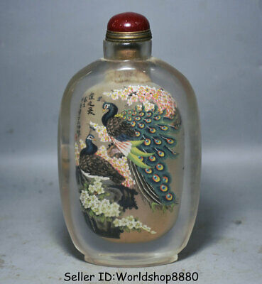 "6.6"" Old Chinese glass Inside painting peacock Birds snuff box snuff bottle"