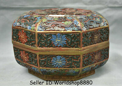 """9"""" Qianlong Marked Old China Red Lacquerware Painting Dynasty Dragon Jewelry box"""