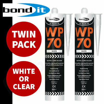 Bond it WP70 Silicone Sealant - Trade LMN Low Modulus for UPVC windows TWIN PACK