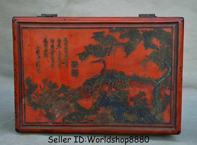 """10.6"""" Qianlong Marked Old China Red Lacquerware Dynasty Pine Crane Storage Box"""