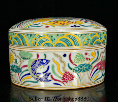 "6.4"" Xuande Marked Old Chinese Fa Huacai Porcelain Dynasty Year Fish Jewelry box"