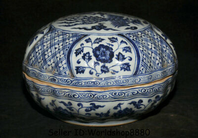 "10"" Xuande Marked Old China Ming Blue White Porcelain Phoenix Birds Storage Box"