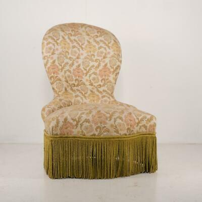 Attractive French Upholstered Armchair Fabulous Fringing, Fireside Nursing Chair