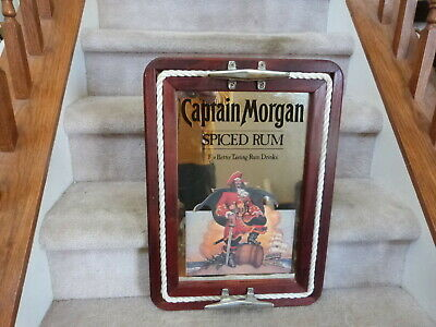 "Captain Morgan Whiskey Advertising Nautical Rope MirrorTray EUC 21.5""x15.75"""