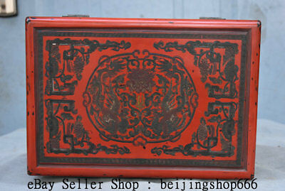 """10.6"""" Qianlong Marked Old China Qing Red Lacquerware Dynasty Phoenix Jewelry box"""
