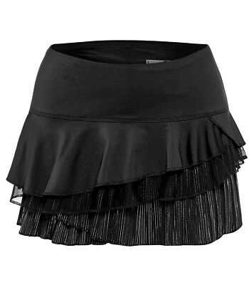 SHOW STOPPER Limited Edition Black & Silver PinStripe Triple Tiered Tennis Skort