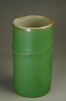 china old hand-made Green glaze porcelain bamboo statue Brush pot Ab02E