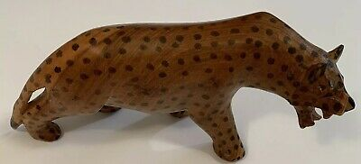 Decorative Hand Carved Wood Wooden Cheetah Figurine Statue