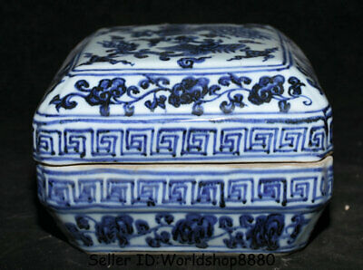"6.4"" Da Ming Xuande Marked China Blue White Porcelain Phoenix Birds Jewelry box"