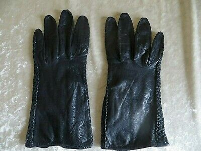 Vintage Navy Blue  Leather Gloves Rope Design  Size Medium