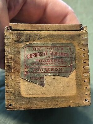 Vintage Early Small Tongue Groove Wooden Box Corrosive Sublimate Label Poison