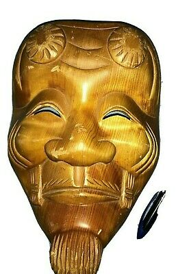 """Vintage Carved Wooden Detailed Asian Face Mask,/ Wall Hanging, 11"""""""