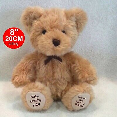 """Personalised Beige Teddy Bear 8""""/20Cm Sitting Traditional Style  Missing You"""