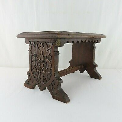Antique Black Forest Carved Wood Stool German Estate Find Solid Foliate Design