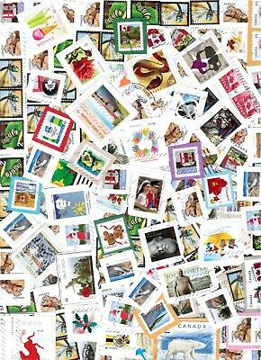 1/4 lbs Bulk Used Canadian Stamps on paper incl. uncancelled & commemorative