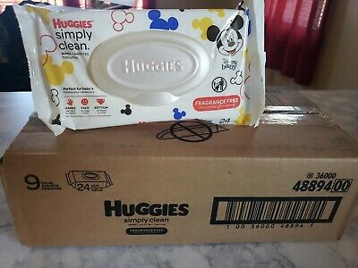 9Pk Huggies Simply Clean Fragrance-free Baby Wipes, Soft Pack 216 Ct.Child/adult