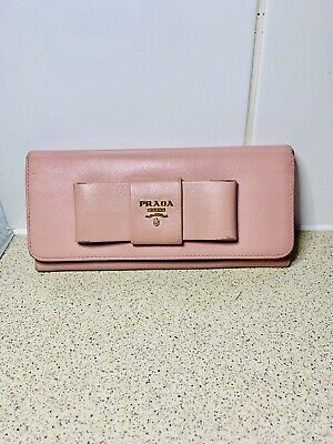Authentic Prada Pink Bow Saffiano Leather Purse