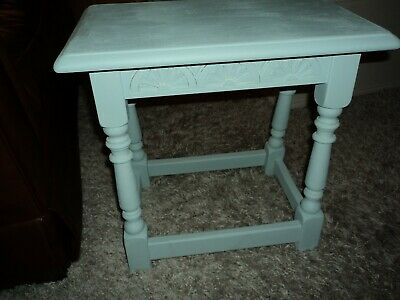 OLD SOLID OAK STOOL/ OCC / TABLE COUNTRY STYLE.  ( painted  in duck egg blue .