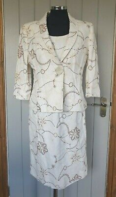 Alex & Co beige embrodiered dress suit 12 shift jacket linen blend floral d7