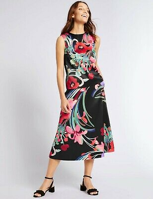 M&S black floral skirt suit size 12 vibrant graphic zip back pockets wedding occ