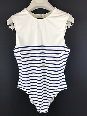 Ladies Solid & Striped The Sharon Navy Breton Swimsuit Size L Bnwts