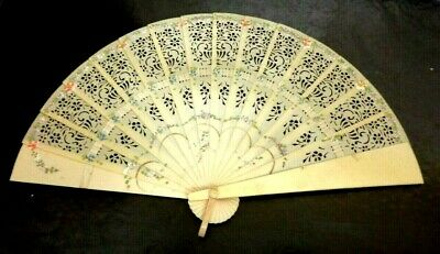Antique Vintage Art Deco Pierced Hand Painted Celluloid Hand Fan Floral 6 1/8""