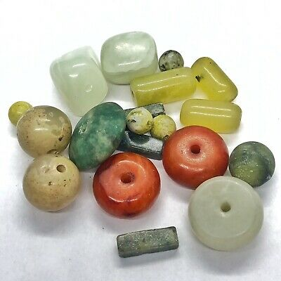150+ Carats Green Jade Stone Gemstone Beads Carved South America & Asia Antique