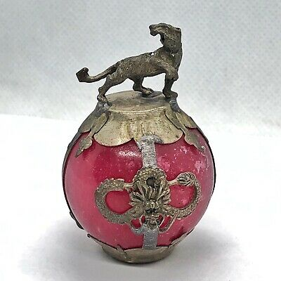 Old Chinese Red Jade Dragon Ball Zodiac Statue Silver Tone Metal Asian Tiger