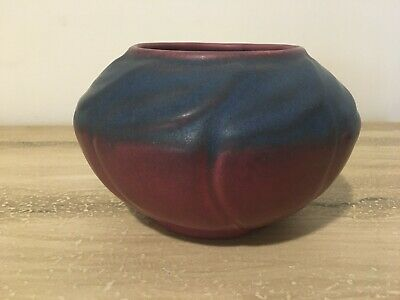 Van Briggle Art Pottery Mulberry Bowl With Leaves Burgundy Navy Blue Maroon