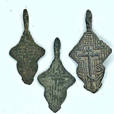 Late/Post Medieval Christian Crucifix Pendant Artifacts Copper Orthodox Icon