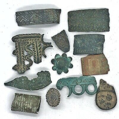 Ancient Bronze Viking Jewelry Fragments Patterned Artifacts - 11th Century AD