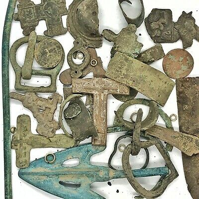 Ancient Byzantine - Post Medieval: Artifacts Lot Amulet Cross Antiquities Old