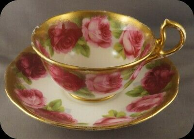 Royal Albert Old English Rose Cup & Saucer Heavy gold c1935 (lot2)