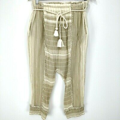 Free People Size M Low Drop Crotch Pants Pull On Trousers 100% Cotton Pockets