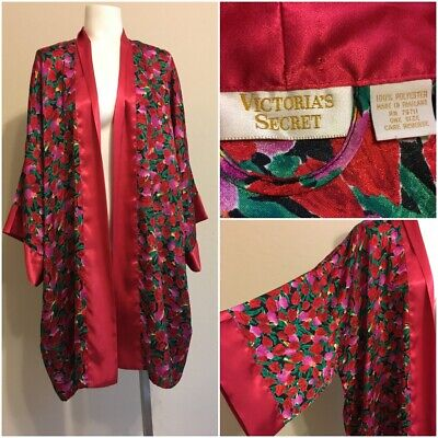 Vintage Victoria's Secret Red Roses Robe One Size Gold Label Long Kimono Sleeves
