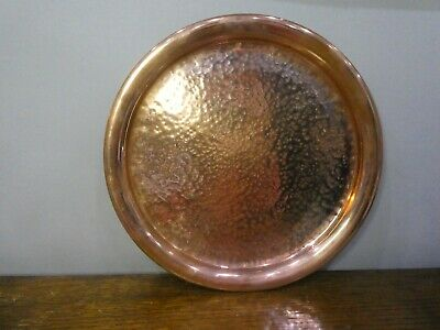 Vintage Arts And Crafts Hammered Copper Serving Charger Tray