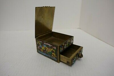 fff57 ANTIQUE CHINESE ENAMEL & METAL BOX WITH DRAWER Canton, Republic