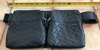 NEW TUMI Black Ticon Leather Waist Pack Utility Pouch Cross Body Travel Acc.